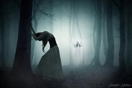 You'll never walk alone - forest, fantasy, girl, misty, alone, sad, blue, night, dense