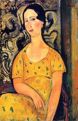 Amedeo Modigliani (1884-1920) Giovane donna in un vestito # Giallo (Madame Modot) 1918