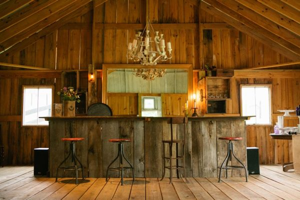 rustic barn wood bar