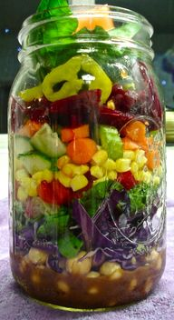 Vegan Salad-In-A-Jar makes a healthy and portable lunch