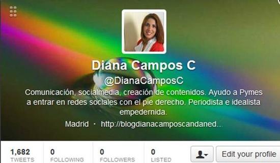 mi perfil en Twitter, tras el reestablecimiento de mi cuenta