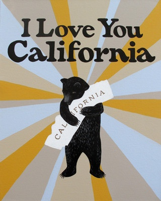 """""""I Love You California"""" Starburst Print by 3 Fish design studios in SF.  Browse their amazing collection on thier site, at www.3fishstudios.com.  They also offer printmaking clasees!"""