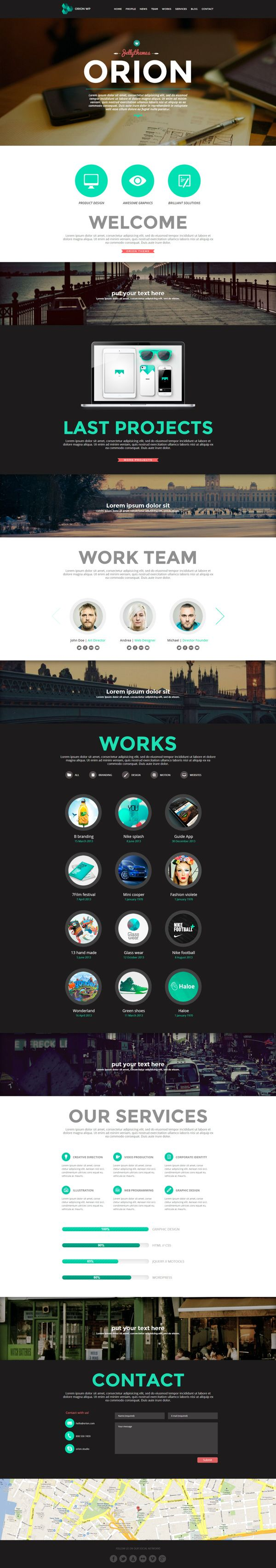 Orion - Responsive One Page WordPress Template by Zizaza - design ocean , via Behance.