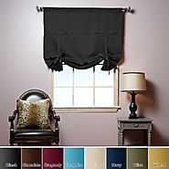 "Tie-Up Shade Solid Insulated Thermal Blackout Window Shade 63""L-BLACK - TUB"