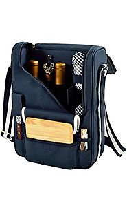 Picnic at Ascot Wine and Cheese Cooler Bag Equipped for 2 with Glasses, Napkins, Cutting Board, Corkscrew, etc.