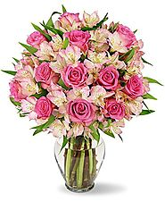 Benchmark Bouquets Charming Roses and Alstroemeria with Vase