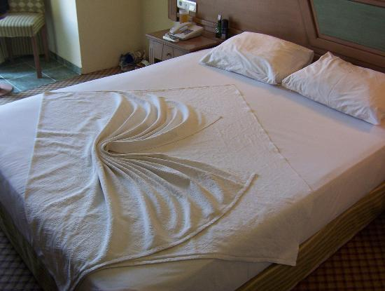 Our bed with top sheet design   Picture of Eken Resort Hotel  Gumbet     Eken Resort Hotel  Our bed with top sheet design