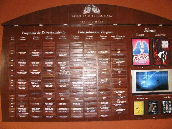 Activities Board Picture Of Valentin Imperial Maya