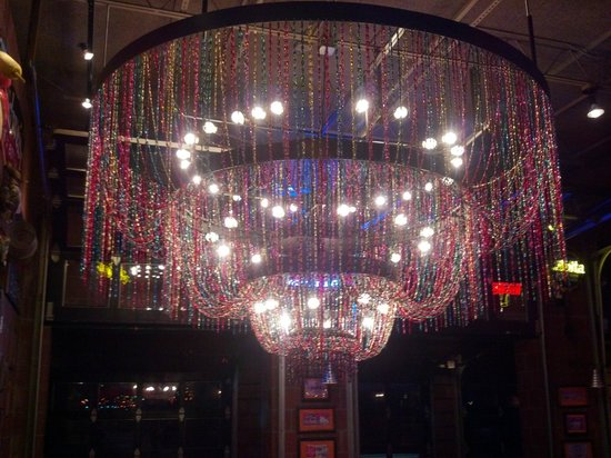 Razoo S Cajun Cafe Mardi Gras Bead Chandelier In Foyer At Razzoo