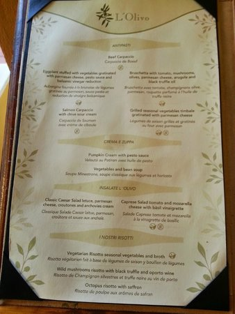 Il Olivo Menu Picture Of Valentin Imperial Maya Playa