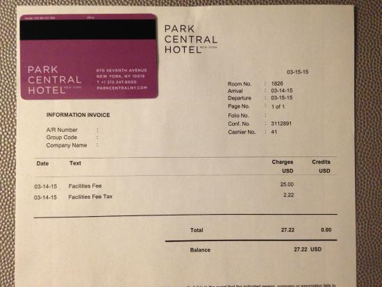 Extra charge for  facilities fee    Picture of Park Central Hotel     Park Central Hotel New York  Extra charge for  facilities fee