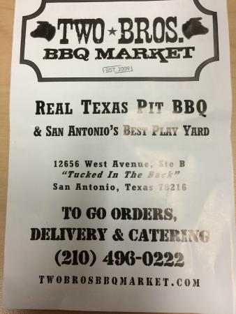 Back Page Take Out Menu Picture Of Two Bros Bbq Market