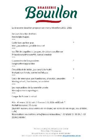 brasserie bouillon menus reveillon