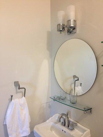 vanity sink glass shelves over sink