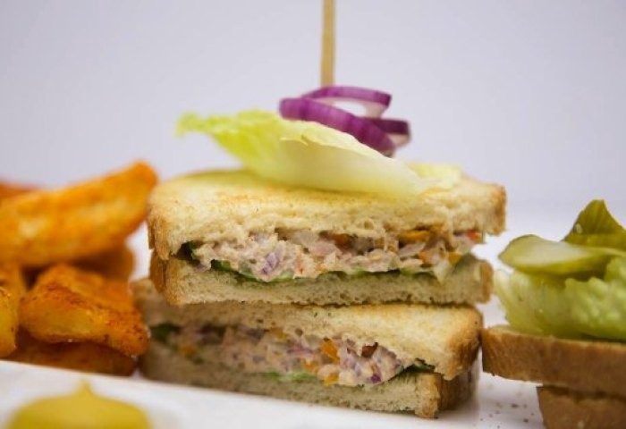 Fresh And Light Tuna Salad Sandwich On White Bread With Potato