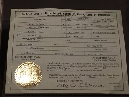 Judy Garland Birth Certificate Picture Of Oz Museum