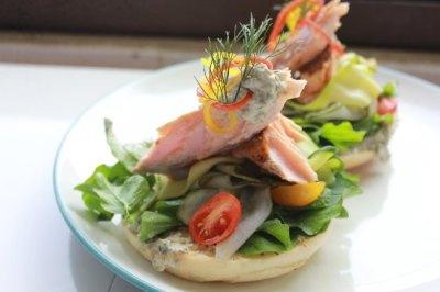 Poached salmon on bagel - Taman Taksu Garden Cafe, Ubud ...