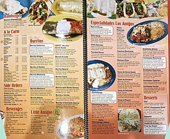 Los Restaurant Menu Amigos Mexican