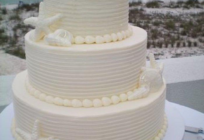 3 Tier Buttercream Wedding Cake And White Chocolate Seashells