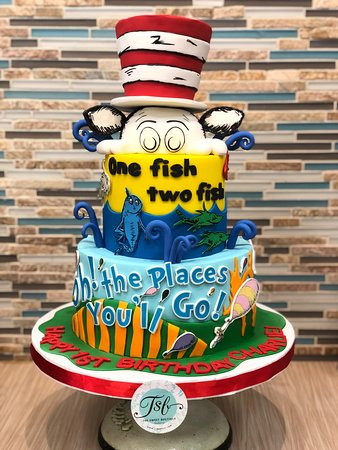 2 Tier Dr Seuss Birthday Cake With Fondant Cat In The Hat Topper Picture Of The Sweet Boutique Bakery Sugar Land Tripadvisor