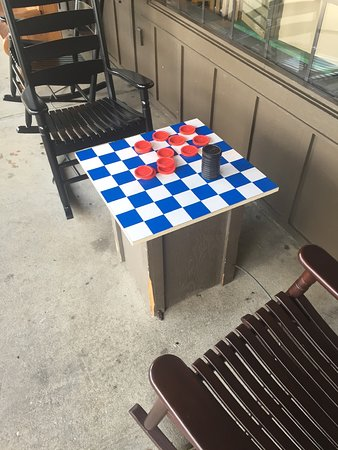 checker table on porch picture of