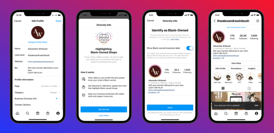 """Image: Instagram announced Wednesday its new """"Black-owned"""" label that U.S.-based businesses can add to their profiles."""