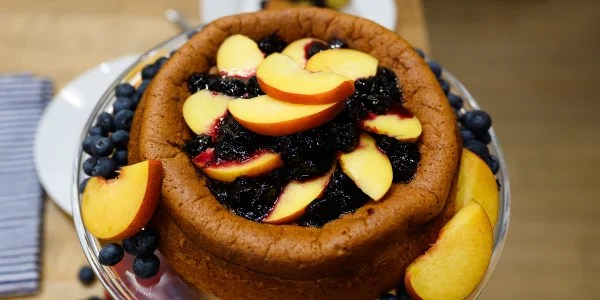 Anne Burrell Olive Oil Cake with Blueberry Peach Sauce