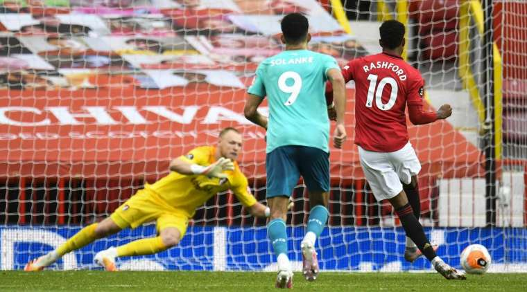 Penalty - 2: 1 - 35 'Rashford M. (Penalty), Manchester United. Goal! Marcus Rashford (Manchester United) sent the ball into the lower right corner past Aaron Ramsdale's outstretched arm.