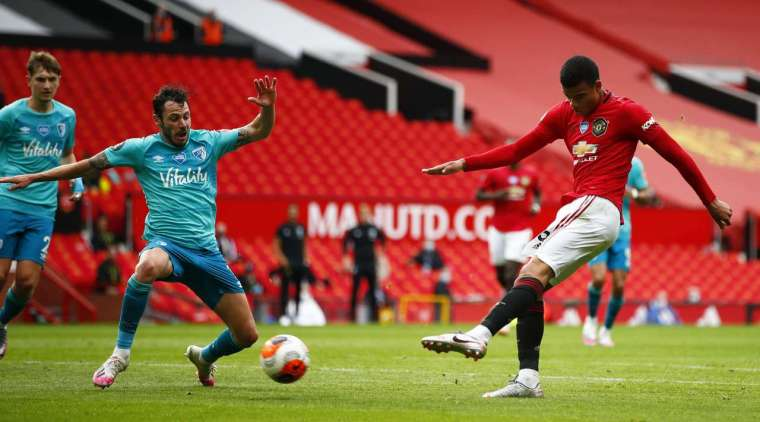 Goal - 1: 1 - 29 'Greenwood M. (Fernandes B. + Fernandes B.), Manchester United. Goal! Bruno Fernandes made a tricky pass against Mason Greenwood (Manchester United), who opened in the penalty area and delivered an aimed shot over the goalkeeper in the right side of the goal. 1: 1.