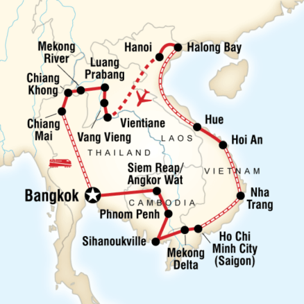 Map of the route for Indochina Discovery by G Adventures