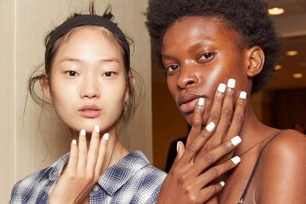 Are you having flashbacks to painting your nails with white-out in grade school? (Us, too.) What makes this throwback seem new again is the sharp, squared-off shape of the nails. This time, skip the school supplies and use Morgan Taylor Lacquer's All White Now instead.