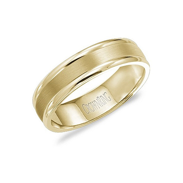 Crown Ring Yellow Gold Brushed 6mm Band