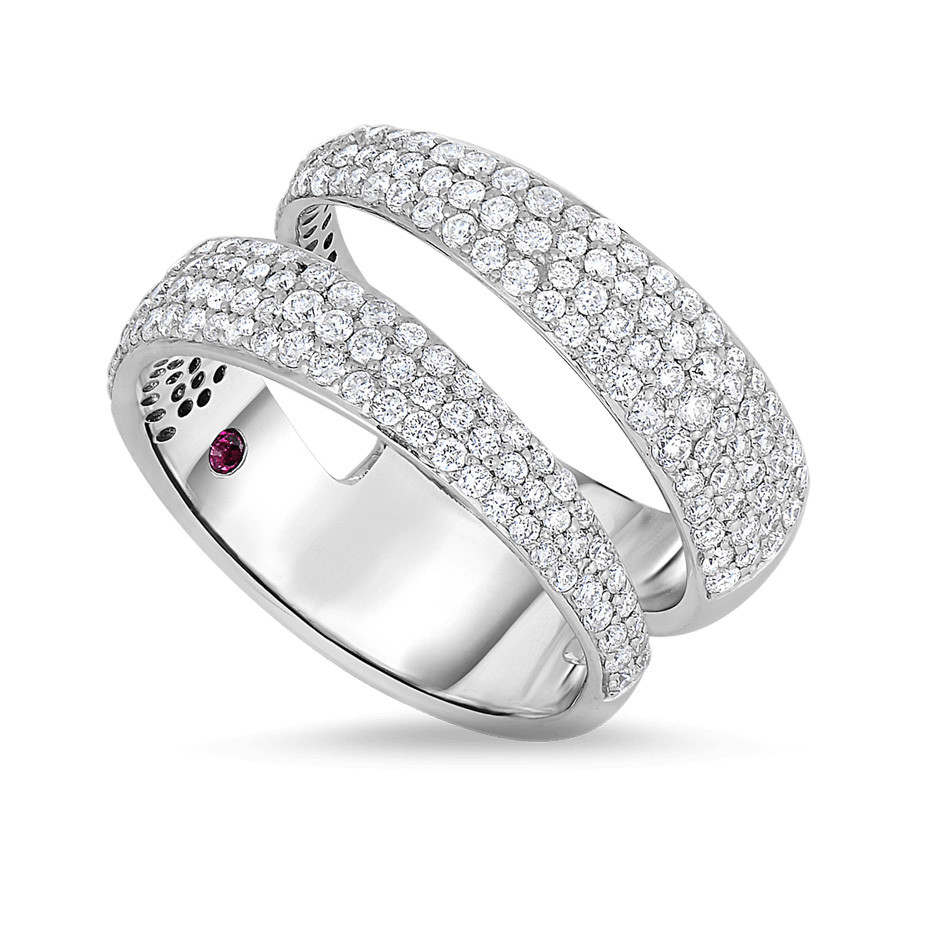 Roberto Coin 8881439AW00X White Gold Two Row Pave Ring