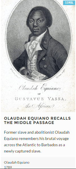 Olaudah Equiano Recalls The Middle Passage Text