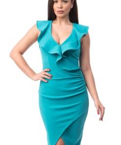 A539-442 Rochie eleganta de seara, turquoise, cu volanase