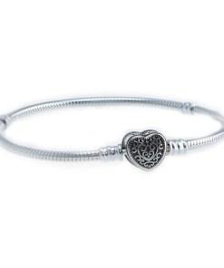 Bratara charm, din Argint 925, cu inchizatoare inima, m18