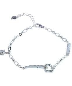 Bratara din argint 925 cu zirconii albe, inima si floare