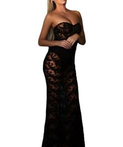 A528-1 Rochie de seara, sexy, din dantela florala neagra