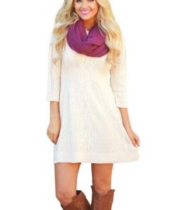 A565-2 Rochie casual, tricotata, cu maneci trei sferturi