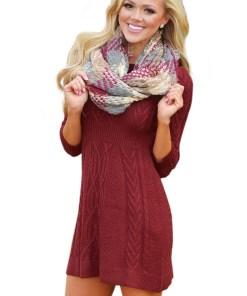 A565-81 Rochie casual, tricotata, cu maneci trei sferturi