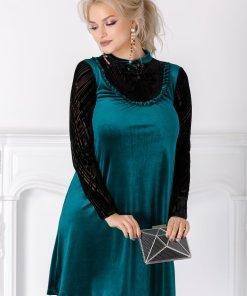 Rochie LaDonna verde cu detalii vintage
