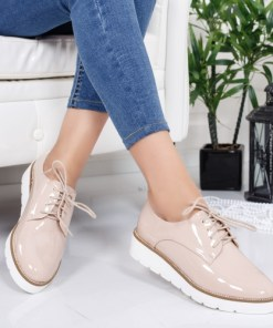 Pantofi Paiva bej tip Oxford