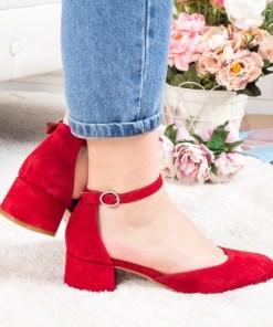 Pantofi Piele Odelia rosii cu toc