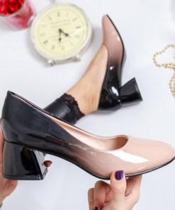 Pantofi Zaneta negri cu bej cu toc