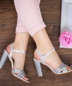 Sandale Calina argintii cu toc