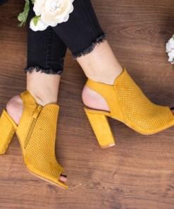 Sandale Mikila galbene cu toc elegante