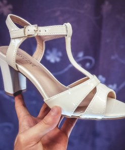 Sandale Opalo albe cu toc