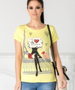Tricou Anelie galben cu imprimeu pe fata si strasuri