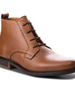 Cizme TOMMY HILFIGER - Color Block Heel Leather Boot FM0FM01602 Cognac 606