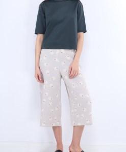 Pantaloni z tania white flowersi